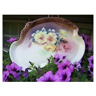 """Gorgeous Vintage 1900's Limoges France Hand Painted """"Deep Yellow Roses"""" 12-3/4"""" Dresser Tray"""