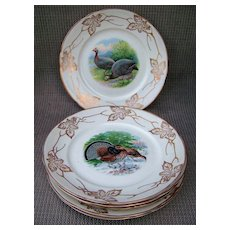 """Outstanding Vintage Buffalo Pottery 1900's Set of 6 Scenic 9-1/4"""" Game Plates by Listed Artist, """"R.K. Beck"""""""