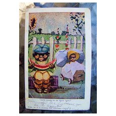 """Black Americana, 1907 Post Card by J.I. Austen Co., Chicago, Il., Entitled """"AIN'T GOING TO BE NONE LEFT"""""""