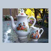 "Vintage Bavaria 1900's Scenic ""Children Fishing"" & Other Scenes Child's Tea Pot & Creamer"