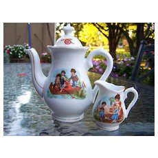 "Vintage Bavaria 1900's Scenic ""Children Fishing"" & Other Scenes Child's Tea Pot & Creamer"