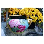 """Spectacular J.P.L. France Limoges 1900's  Hand Painted """"Red, Pink, & Yellow Roses"""" Elephant Handles 13-1/2"""" Jardiniere"""