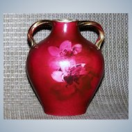 """Scarce Royal Bayreuth 1900's Hand Painted """"Crimson Red Roses"""" 4-5/8"""" Pillow Vase"""