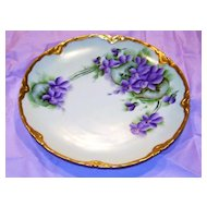 "Attractive Vintage Hapsburg MZ Austria 1920's Hand Painted ""Violets"" 7-5/8"" Plate by the Artist, ""A. Fries"""