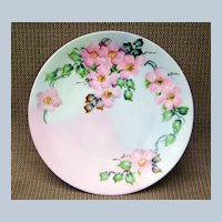 """Bavaria 1900's Vibrant Hand Painted """"Wild Pink Roses"""" 9-1/8"""" Plate by the Artist, """"B.G. Kudera"""""""