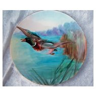 "Beautiful Vintage Austria 1900's Hand Painted ""Mallard Duck Fleeing Duck Hunter"" 9"" Plate by the ""Orchardson Art Studio"""