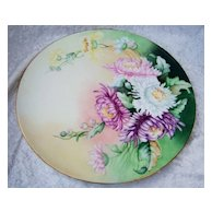 """Attractive Vintage 1900's J.P.L. France Limoges Hand Painted """"Pink, White, Lavender, & Yellow Mums"""" 11-1/2"""" Plaque"""