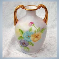 """Beautiful Limoges France 1900's Hand Painted """"Blue, Purple, & Yellow Pansy"""" 4-5/8"""" Petite Muscle Vase by the Artist, """"C.L. Doma"""""""