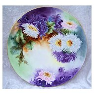 "Spectacular Vintage 1900's T & V Limoges France Limoges Hand Painted ""Purple, White, & Pink Mums"" 11-5/8"" Plaque"