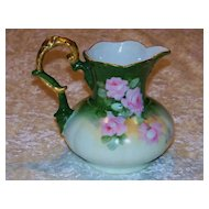 "Beautiful Vintage CT Austria 1900's Hand Painted ""Pink Roses"" 5-1/4"" Pitcher"