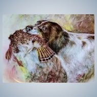 """T & V Limoges 1900's Hand Painted """"English Spaniel Hunting Dog with Prey"""" 9-1/2"""" Plate by the Well Known Chicago Artist, """"Julius Brauer"""""""