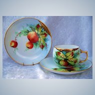 """Exceptional Bavaria 1900's Hand Painted """"Red & Green Crabapples"""" Matching Cup,Saucer, & Plate by the Artist, """"AMY"""""""