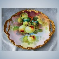 """Wonderful Vintage Limoges France 1900's Hand Painted Vibrant """"Apple Decor"""" 11-1/2"""" Heavy Gilded Plate by the Well Known French Artist, """"Rancon"""""""