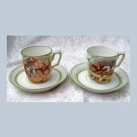 """European Vintage 1900's Scenic """"Fox Hunt Scenes"""" Pair of Children's Translucent Cup & Saucer With Beehive Mark"""