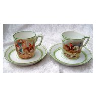 "European Vintage 1900's Scenic ""Fox Hunt Scenes"" Pair of Children's Translucent Cup & Saucer With Beehive Mark"
