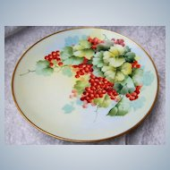 """Attractive Vintage Austria 1900's Hand Painted """"Red Currant"""" 9-1/4"""" Plate by the France Studio of Chicago"""