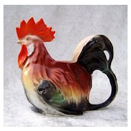 "Royal Bayreuth 1900's Colorful Figural Rooster 4-1/8"" Creamer Milk Pitcher"