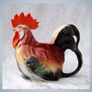 """Royal Bayreuth 1900's Colorful Figural Rooster 4-1/8"""" Creamer Milk Pitcher"""