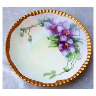 "Beautiful Vintage T & V Limoges France Hand Painted ""Purple Orchid"" 6-3/4"" Plate With Heavy Gild Gold Ribbed Outer Rim"