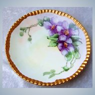 """Beautiful Vintage T & V Limoges France Hand Painted """"Purple Orchid"""" Floral Plate With Heavy Gild Gold Ribbed Outer Rim"""