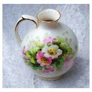 """Attractive Vintage 1920-30's Weisley China Co. Hand Painted """"Wild Pink & White Roses"""" Bulbous 5"""" Ewer by the Artist, """"Leo"""""""