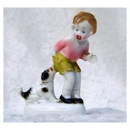 "Antique Germany 1900's ""Dog Biting A Little Boy"" Fairing Figurine"