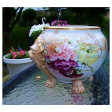 "Beautiful Vintage Limoges France 1895 Hand Painted Vibrant ""Red, Peach, & Yellow Roses"" 10-3/4"" Wide Floral Jardiniere With Lion Handles & Feet by the Artist, ""I.S."""