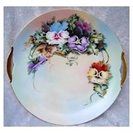 "Gorgeous Vintage 1900's KPM Germany Hand Painted ""Purple, Blue, Yellow, Burnt Orange, & White Pansy"" 10-1/4"" Plate by Artist, ""M. Coyne"""