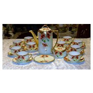 "Fabulous MZ Austria HP 1900's Vintage ""Burnt Orange Poppies"" 25 PC Tea Set W/Sugar & Trivet by Pickard Artist ""EDWARD MENTGES"""
