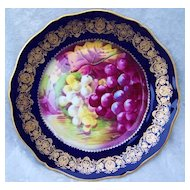 "Gorgeous Vintage 1900's Theodore Haviland Limoges France Hand Painted ""Reflecting Purple & Green Grapes"" 9-1/8"" Cobalt Blue & Heavy Gold Plate by French Artist, ""Rogor"""
