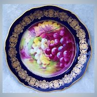 """Gorgeous Vintage 1900's Theodore Haviland Limoges France Hand Painted """"Reflecting Purple & Green Grapes"""" 9-1/8"""" Cobalt Blue & Heavy Gold Plate by French Artist, """"Rogor"""""""