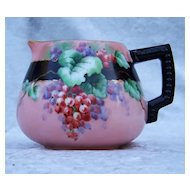 "Gorgeous Vintage Bavaria 1900's Hand Painted ""Red Currant"" Pitcher by the Artist, ""H. Longrall"""