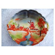 "Superb RS Prussia [ES Germany] 1900's Hand Painted ""Windmill Scene"" Tapestry Bowl"