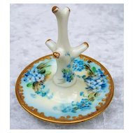 "Gorgeous Vintage 1900's Bavaria Hand Painted ""Forget Me Not"" Ring Holder"
