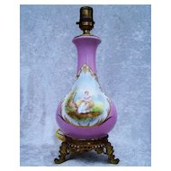 "Beautiful Vintage Sevres 1850's Hand Painted Portrait of a ""Lady With A Song Book"" Lamp in A Beautiful Mauve"
