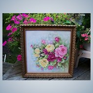 """Exceptionally Large 21"""" x 21""""Exquisite Limoges Hand Painted """"Red, Pink, & Yellow Roses"""" Floral Plaque by the Artist, """"Alma Rhoads"""""""