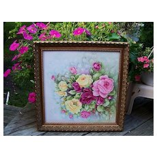 "Exceptionally Large 21"" x 21""Exquisite Limoges Hand Painted ""Red, Pink, & Yellow Roses"" Floral Plaque by the Artist, ""Alma Rhoads"""