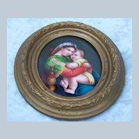 Exceptional 19th Century Antique Minature Painting on  Porcelain Plaque of Raphael's Madonna della Seggiola