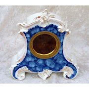 "Superb RS Prussia 1900 Ornate Floral & Cobalt Blue Vintage 6-1/2"" Floral German Clock"