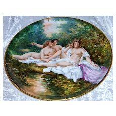 """Museum Quality 13"""" 1900's Limoges France Hand Painted """"Three Nudes Bathing"""" Plaque by the Renowned & Listed Artist, """"Dubois"""""""