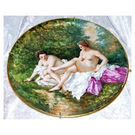 "Spectacular Museum Quality 1900's Limoges France Hand Painted ""Two Nudes Bathing"" 13"" Plaque by the Renowned & Listed Artist, ""Dubois"""