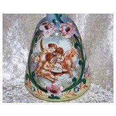 "Gorgeous Antique Bristol Glass 1900's Hand Painted ""Three Frolicking Cherubs"" 7-1/2"" Victorian Barber Bottle"