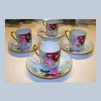 """Attractive Limoges 1900's Matched Set of 4 Hand Painted Deep """"Red & Pink Roses"""" Floral Cups/Saucers"""