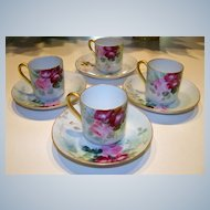 "Attractive Limoges 1900's Matched Set of 4 Hand Painted Deep ""Red & Pink Roses"" Floral Cups/Saucers"