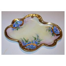 """Wonderful Vintage 1900's J.P.L. France Limoges & Pickard Studio of Chicago Hand Painted """"Forget Me Not"""" Floral Pin Tray"""