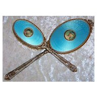 "Outstanding Vintage 1900's Guilloché Enamel Vibrant Sky Blue Portrait Hand Painted Hand Mirror & Brush Vanity Set by the Artist, ""hion"""