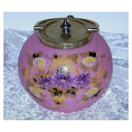 "Outstanding Mt. Washington Glass 1900 Hand Painted Enamel Pink Lavender ""Daisies"" 5-1/2"" Floral Cracker Jar With Silver Plated Collar"