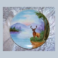 """Beautiful 1903 Germany Hand Painted """"Majestic Stag"""" 10-1/4"""" Plate by the Listed Chicago Decorator, """"Ada Giles"""""""