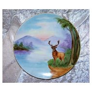 "Beautiful 1903 Germany Hand Painted ""Majestic Stag"" 10-1/4"" Plate by the Listed Chicago Decorator, ""Ada Giles"""