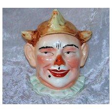 "Fabulous & Scarce 1900's European Hand Painted Figural ""Clown"" Humidor Tobacco Jar"